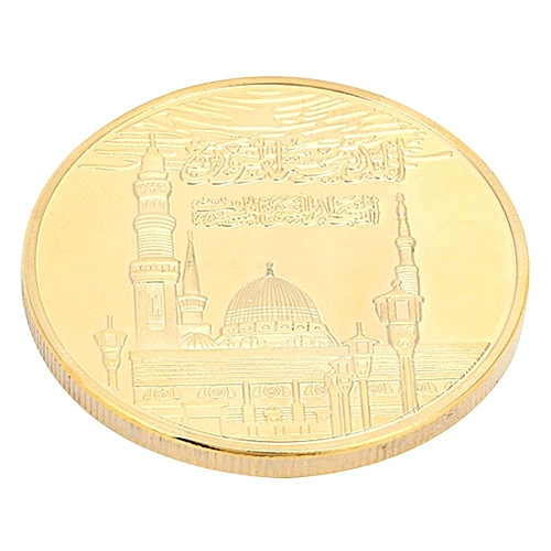 40*3mm Islamic Theme Muslim Commemorative Mosque Round Gold Plated Coin