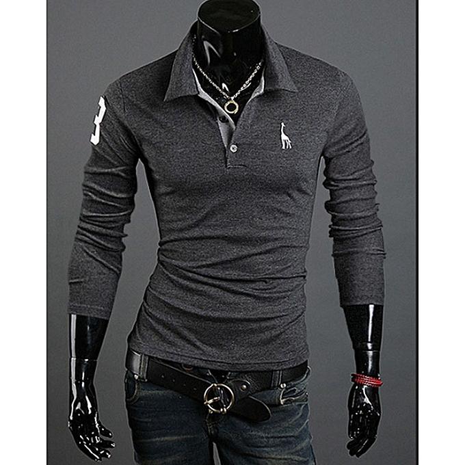 7cdea3406 Mens Polo Homme Casual Tops Tee V Neck Polo Shirts Slim Fit Long Sleeve-Grey