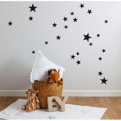 Black Stars Wall Sticker 60 Pieces
