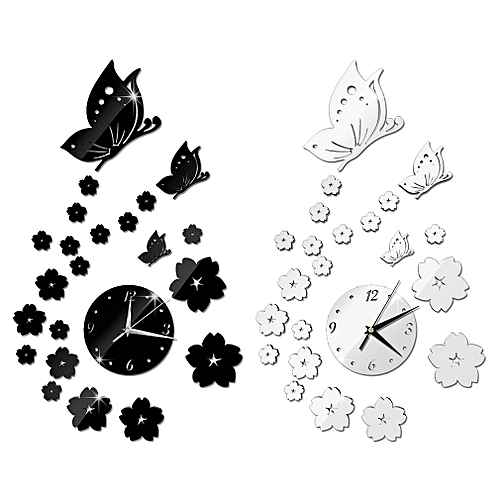 Mirror Wall Stickers 3D Clock Butterfly Pattern CA005 Living Room Decoration