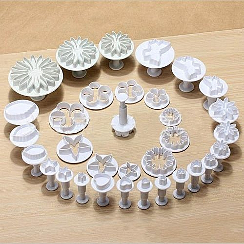 33 Pcs/set Pastry Cutters Tools Sugar Craft Cake Decorating Mold Fondant Icing Plunger