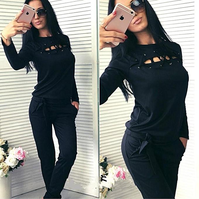 59f08d4a3f Black Autumn Casual Sweat Suits Women Fashion Female Suit Two Piece Set Top  And Pants Plus