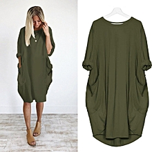349c68ff55 Womens Pocket Loose Dress Ladies Crew Neck Casual Long Tops Dress Plus Size
