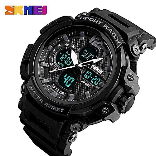 Branded Skmei Outdoor Sports Watches For Men Dual Time Zones Multifunction Quartz Wristwatches 50 Meter Waterproof Shock Resist Men's Strap Electric Led Digital Watch
