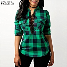 2f4ebc01a84b5 ZANZEA Women Deep V Neck Lace-up Plaid Tops Loose Casual T Shirt Blouse