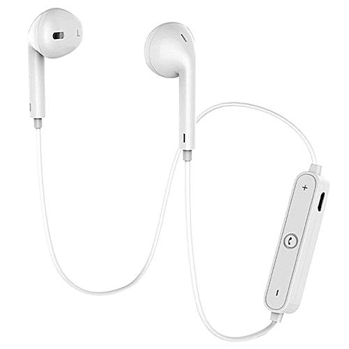 S6 Sports Bluetooth Bilateral Stereo Music Earbuds - White