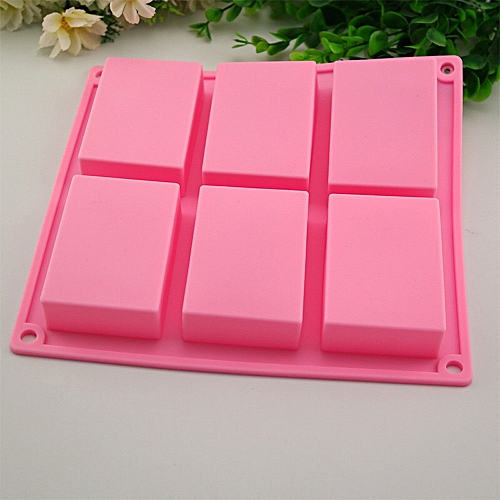 6 Cavity Plain Basic Rectangle Silicone Mould For Homemade Craft Soap Mold -Pink