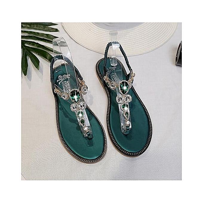 89fb50f77 Fashion Women Ladies Sandals Crystal Flip Flops Flat Shoes Green ...