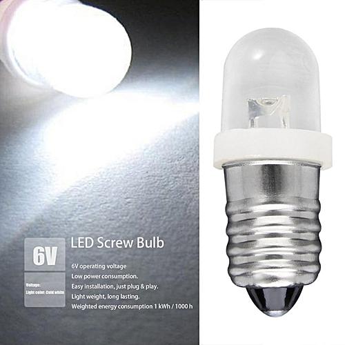 E10 LED Screw Base Indicator Bulb Cold White 6V DC Illumination Lamp Light