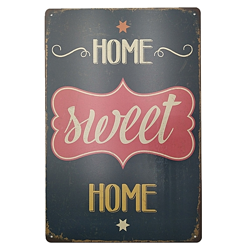 Vintage Style Sweet Home Metal Painting For Cafe Bar Restaurant Wall Decor - Black