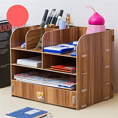 Creative Home Office Desktop File Holder Storage Box Wooden Multilayer Shelf Household Desktop Shelf M