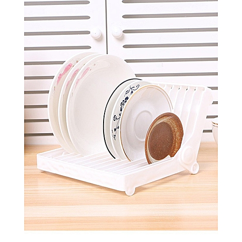Foldable Kitchen Storage Plate Cup Holder Drainer Shelf - White