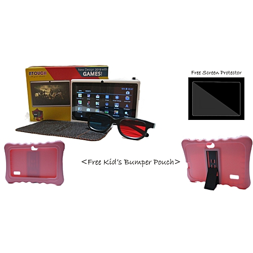 KId's Tablet Android 6.1 + Pink Pouch + Screen Protector