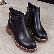 6f97289fb Martin Boots Female Round Toe Ankle Side Zipper Double Belt Buckle