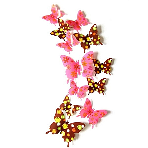 12Pcs Creative Butterfly Wall Stickers Shiny Porcelain Pattern 3D Butterfly Sticker Home Wall Decor