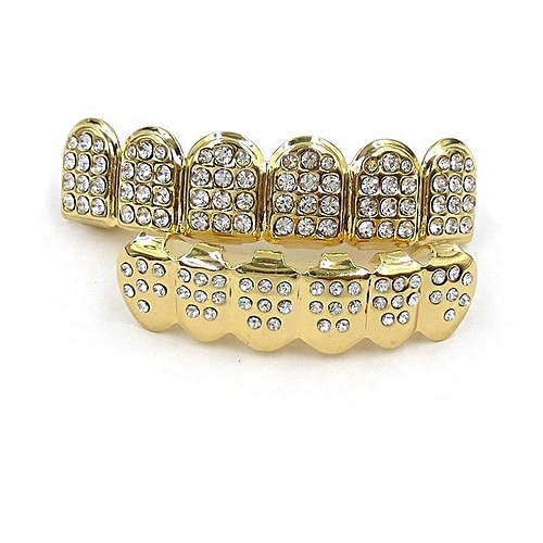 Generic Set 14K Gold Teeth Grillz Top Bottom Iced Out CZ Hip Hop Tooth Cap  Grill Bling   Gold bd3b6cb52