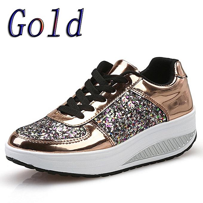 d5d1d564c89f Women's Ladies Wedges Sneakers Sequins Shake Shoes Girls Sport Shoes