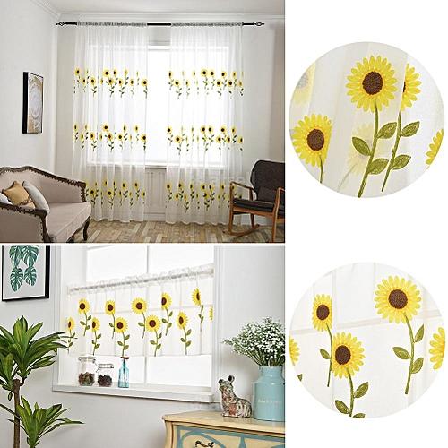 Daisy Floral Tulle Voile Door Window Curtain Scarf Valances