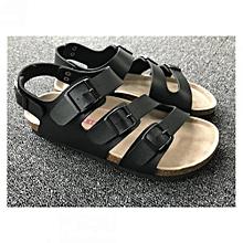 26a4d12305a3 Comfort Leather Upper Adjustable Cork Sandals Black