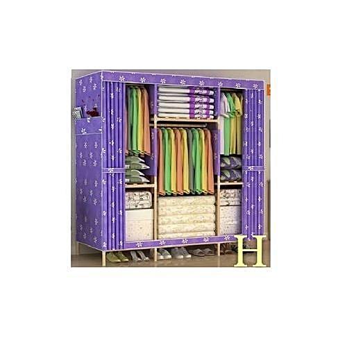 Wooden Mobile Wardrobe (3 Columns Multi Compartments) L150cm, B45cm, H170cm
