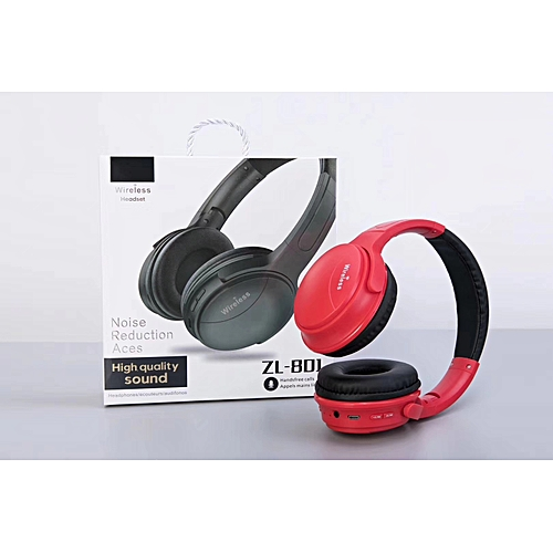 ZL-801 Noise Reduction Aces Bluetooth Headphones With Microphone Stereo Music Headphones Over 4Hours Playtime For Travel Work TV Computer Phone - Black Foldable