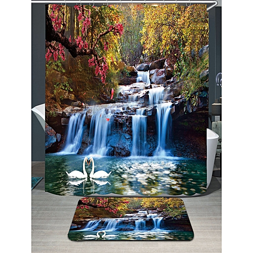 Swans Flowers Cascade Waterproof Shower Curtain Rug Set - Colorful