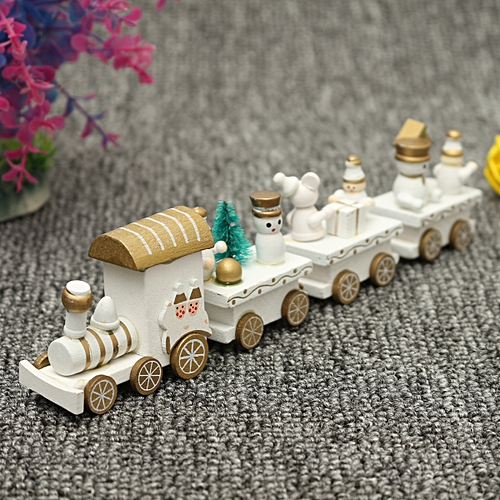 4/7 Pieces Christmas Wooden Train Santa Claus Xmas Ornament Home Decor Kids Gift