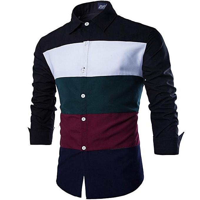 86b5ff77e65 New Fashion Men Long-sleeve Shirt Black   Green High Quality Cotton Casual  Style Slim
