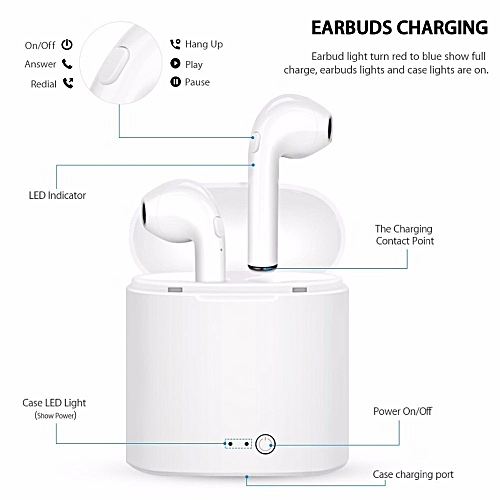 I7s Twins Bluetooth Earphone With Charging Station(Charging Before Using, Last 30 Mins Each Time. If No Sounds In One Earphone, Sync The Earphones As Per Manual)