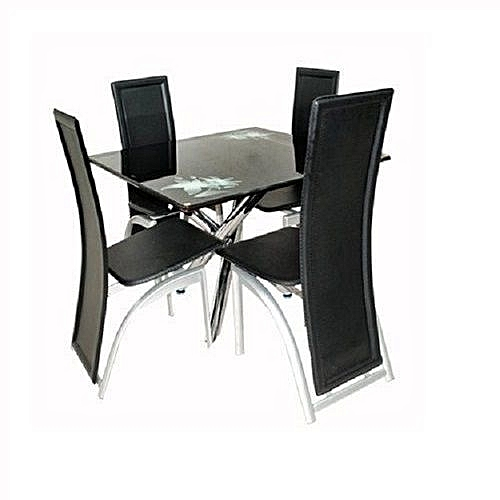 Classic Dining Table With 4 Classic Chairs - Black (Lagos Delivery Only)
