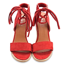 ad322a3dbf14a Ladies Sexy Suede Lace Up Open Toe Thick Heel Gladiator Sandals-RED