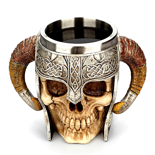 Coffee Mug Resin Striking Warrior Tankard Viking Skull Double Wall Christmas Cup