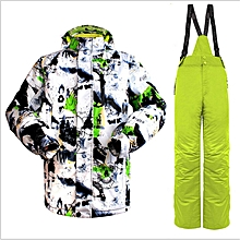 UJ Wild Snow Pro Men Ski Jacket Pants Suit Waterproof Windproof Outdoor Wear-black&green+green