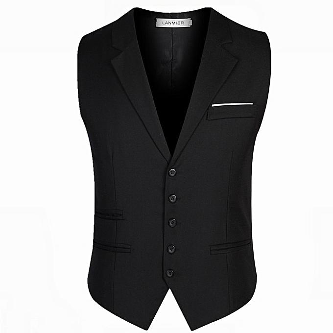 29610059ed Men's Top Designed Casual Slim Fit Skinny Dress Vest Waistcoat Black