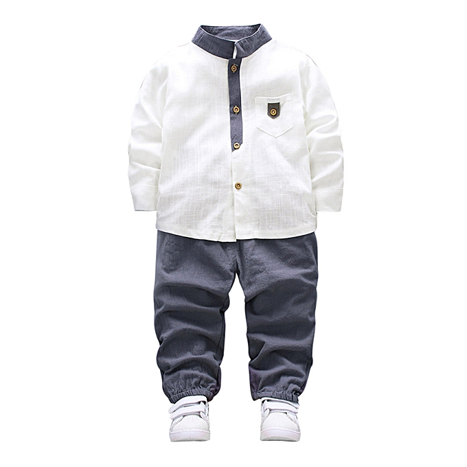 7d08ee9c 2pcs Toddler Baby Boys Kids Shirt Tops+Long Pants Clothes Gentleman Outfits  Set- White