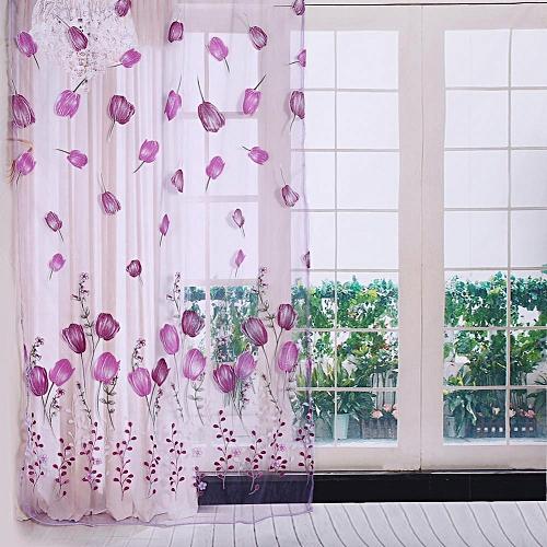 100*200cm Tulips Printing Tulle Curtains Sheer Drape Balcony Window Decoration Purple