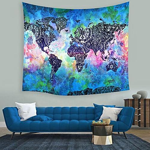 Indian World Map Mandala Wall Hanging Yoga Tapestry Beach Towel Home Room Decor