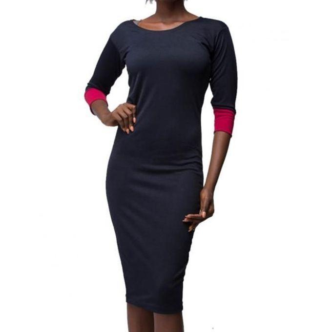 Virtue Clothier Hayley Midi Dress- Navy | Buy online | Jumia Nigeria