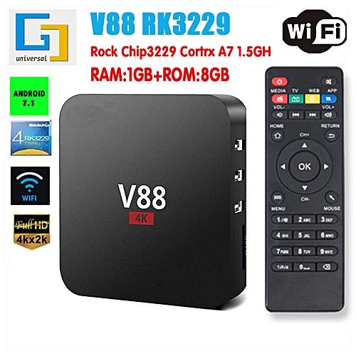 Smart Android 7.1 TV Box RK3229 Quad Core 4K H.265 2GB/16GB USB WiFi HD 2.4GHz-US Plug-US