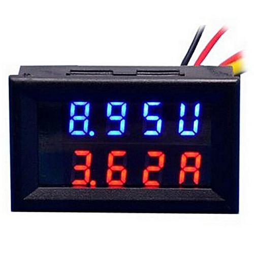 Dual 0.28 Inch Three Bit Red Blue LED Display Voltmeter Amperemeter - Black