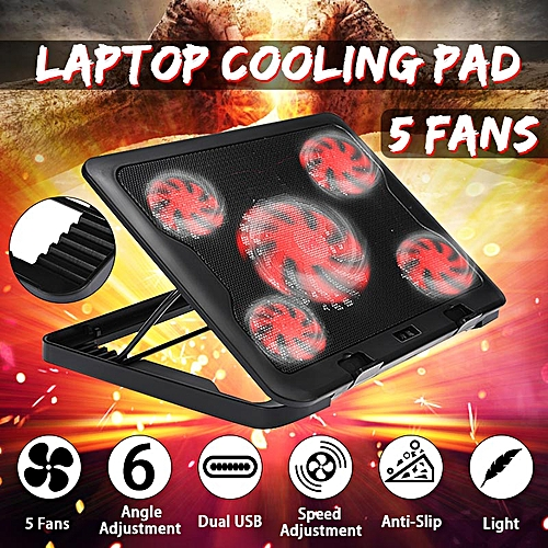 """Black USB Cooling Cooler Stand Pad Fits 10""""-17"""" Inch Laptop And Notebook 5 Fans"""