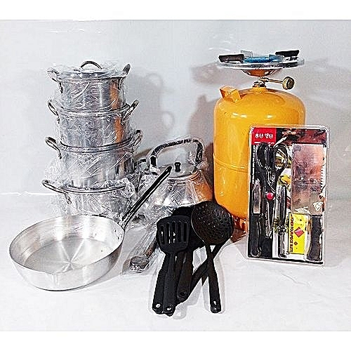 Economy Kitchen Bundle- 4 Set Pots, 1 Kettle, 1 Frying Pan, 1 Set Non-stick Frying Spoon, 1 Small Knife Set, 1 Set Of Table Spoon And 5kg Gas Cylinder ( Colour Of Cylinder Differs
