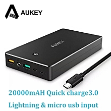20000mAh Power Bank Quick Charge 3.0 Fast Charging Dual USB Portable External Battery