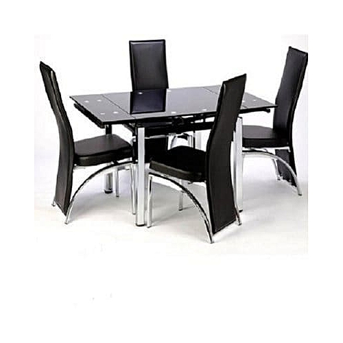 Ultimate Extending Glass Dining Table With 4 Chairs Black Jumia