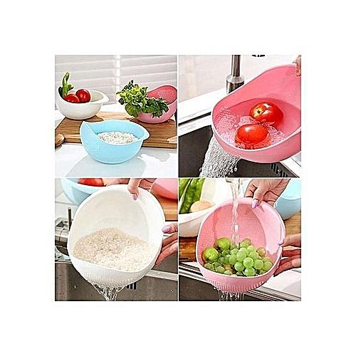 Plastic Vegetable Fruit Basket Rice Wash Sieve Washing Bowl With Colander P