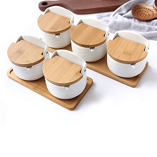 Ceramic Kitchen Spice Storage Jars With Lid Spoon - Round
