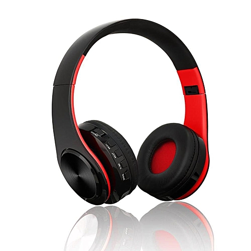 Bluetooth Headset, Foldable Over-ear Wireless Wired Stereo Headphone Support TF Card Noise Cancelling Built-in Microphone Hands-free Phone Calling Sports PC Gaming Earphone - Black+Red BDZ