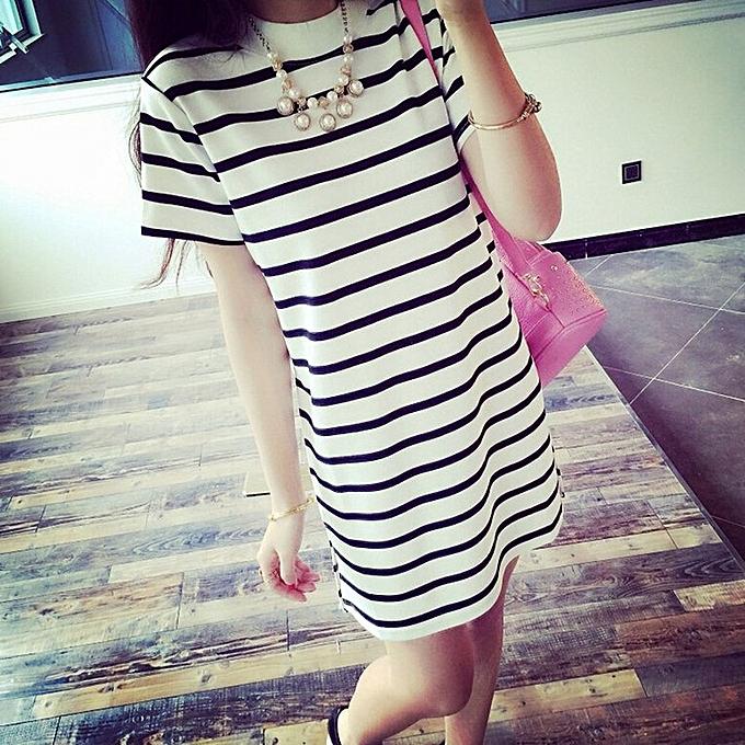 f1a7a220e0de8b Allwin Long Section Short-sleeved Striped T-shirt Women Casual O ...