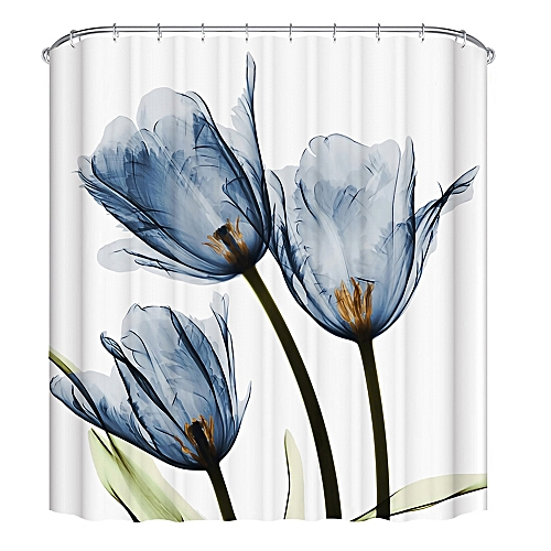3D Printing Lotus Shower Curtain Set With 12 Hooks 180 X 180cm