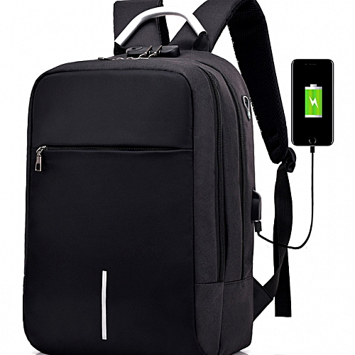 2018 Anti Theft Oxford Smart Bag With Password Lock + Headset Jack With USB Charging Port, Security Travel Backpack & Laptop Bag Water Repellant - 2018 Design- Black